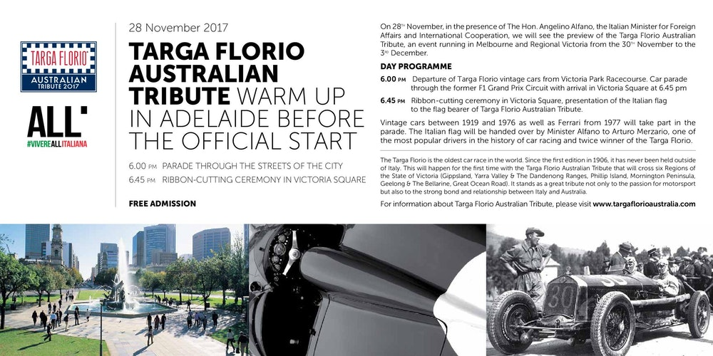 TARGA FLORIO AUSTRALIAN TRIBUTE Tickets, Tue, 28/11/2017 at 6:00 ...
