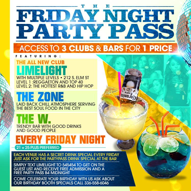 Friday Night Party Pass Including 3 Bars, 3 Djs, 1 Night | Greensboro, NC | Limelight | December 8, 2017