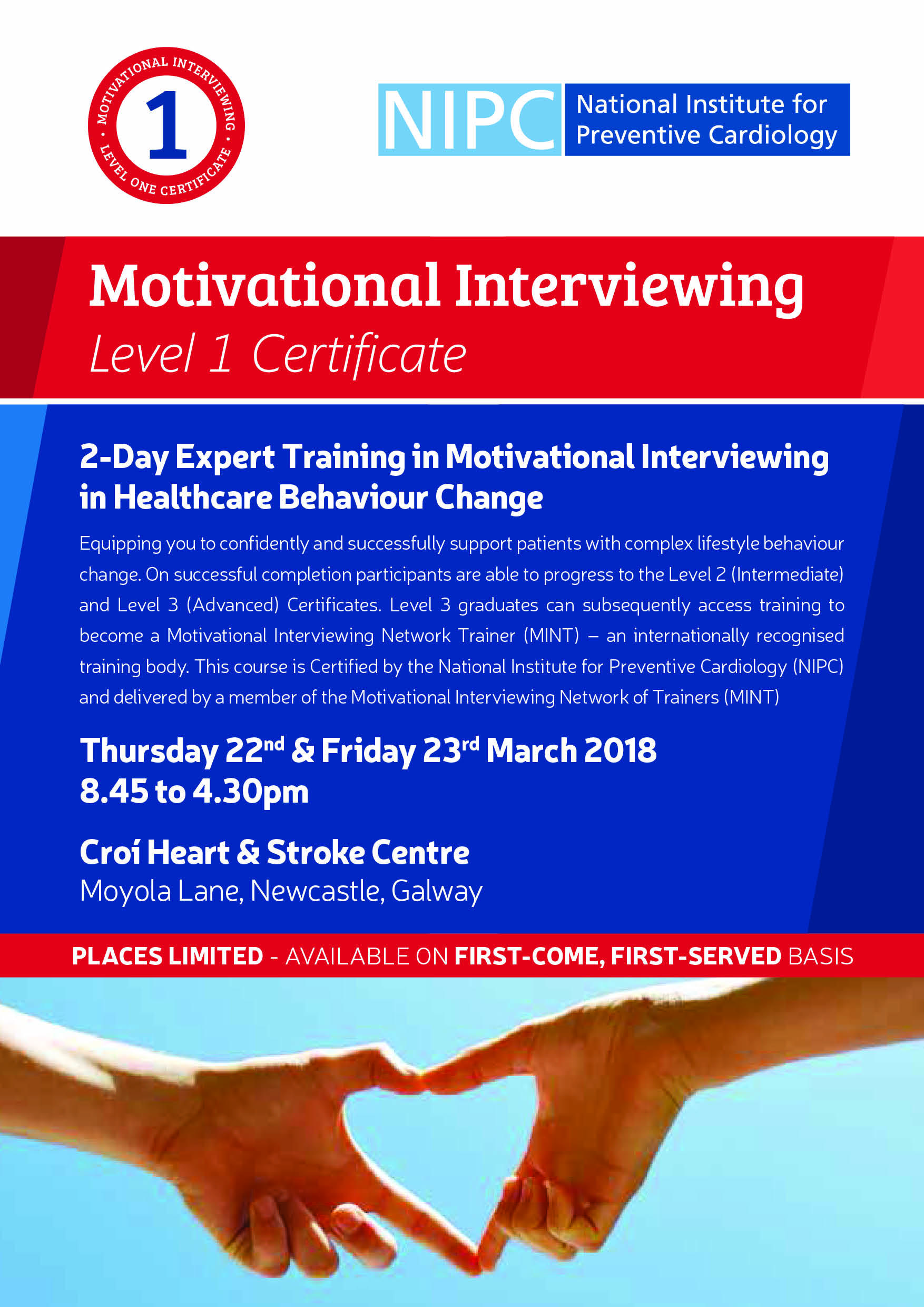Motivational Interviewing Level 1 Certificate 22nd & 23rd March 2018 (Standard Rate)