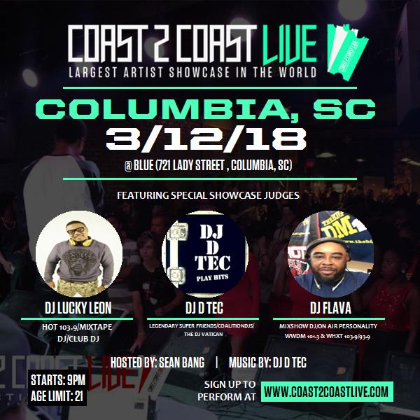 Coast 2 Coast LIVE Artist Showcase | Columbia, SC Edition 3/12/18