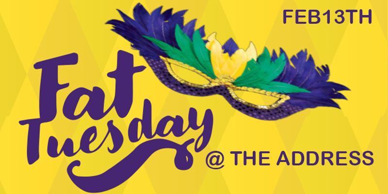 FAT Tuesday .:: Mardi Gras Celebration ::. FEB 13th @ the Address | Freeeee Crawfish!!! Mardi Gras Beads and More | DJ MR Rogers, DJ Havoc and DJ Youngstreetz Indmix | Houston, TX | The Address | February 13, 2018