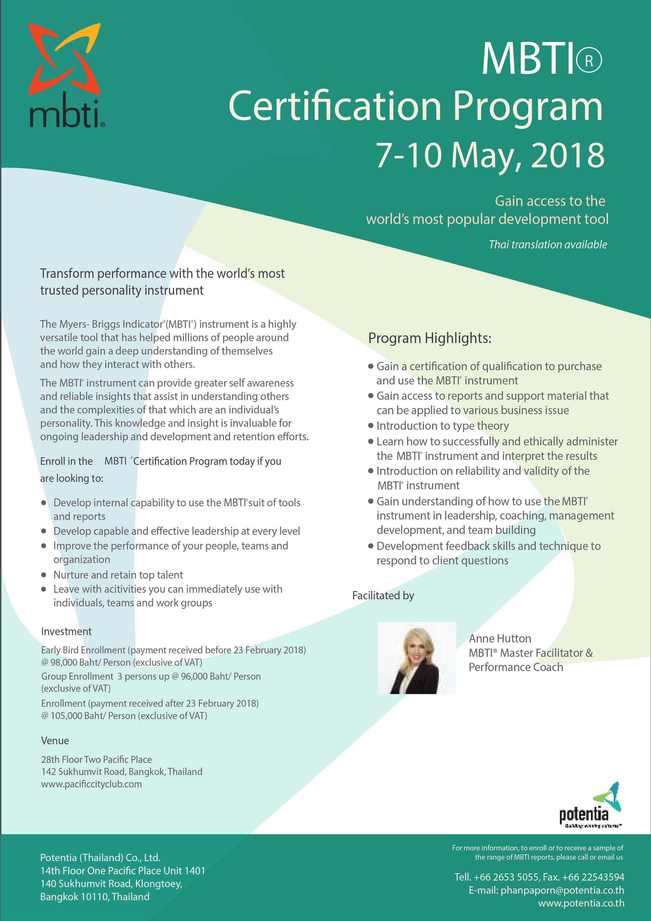 Mbti Certification Program May 7 10 2018 7 May 2018