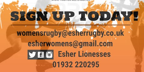 WOMENS RUGBY TASTER SESSION WITH ESHER LIONESSES  tickets