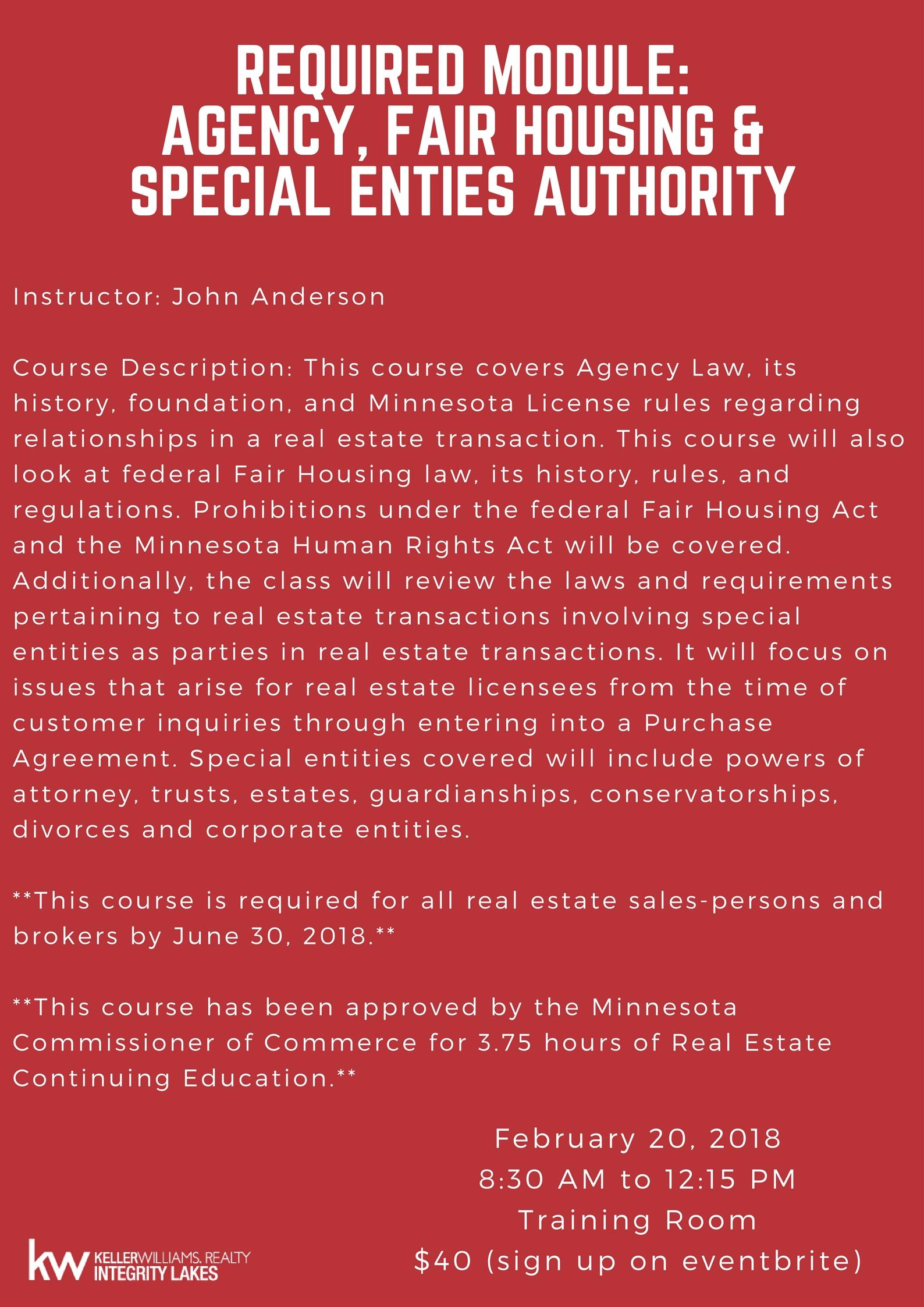 Required Module - Agency, Fair Housing & Spec