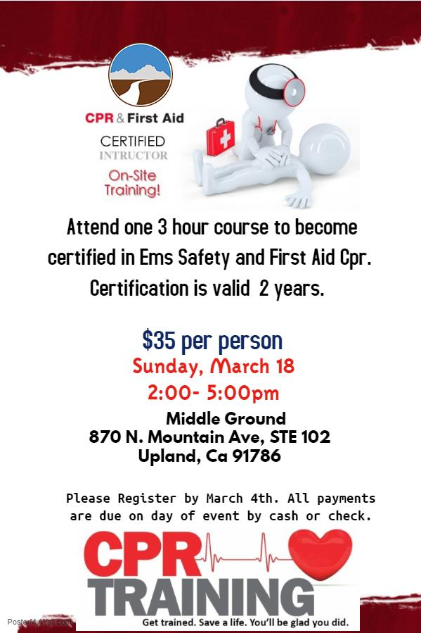 Middle Ground Cpr Training Course 18 Mar 2018