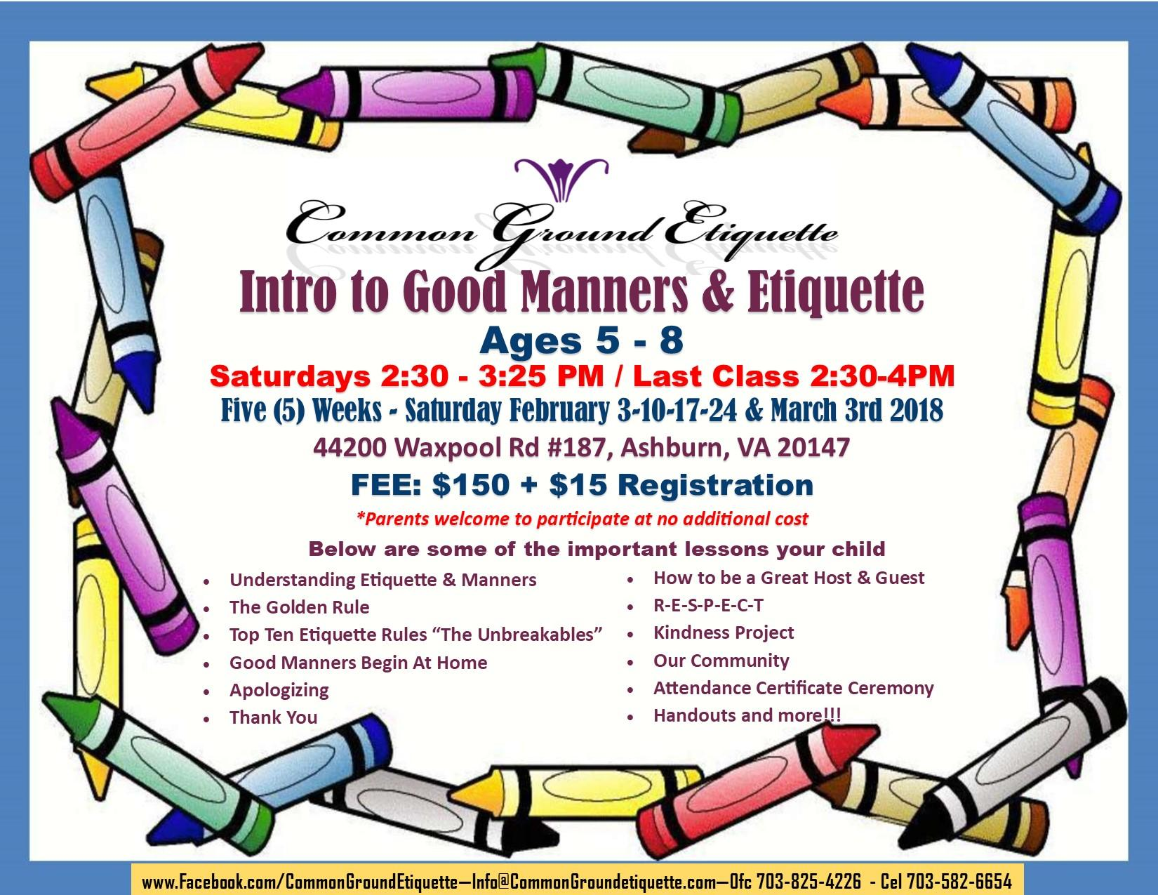 Intro to Good Manners & Etiquette - Ages 5 -8 photo