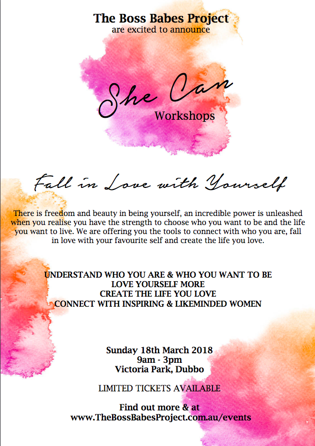 She Can Workshops Fall In Love With Yourself 18 Mar 2018