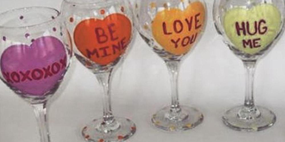 valentine wine glass painting sunday tickets - Valentine Wine Glasses