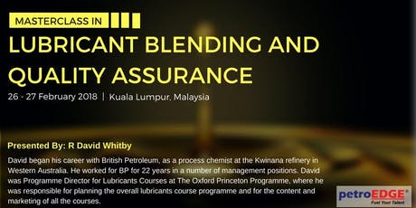 Lubricant Blending and Quality Assurance tickets