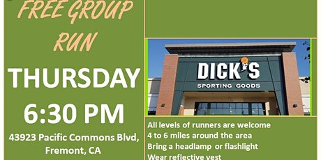 Fremont, CA: Trivalley Running Club Thursday Fun Group Run at Dick's Sporting Goods tickets