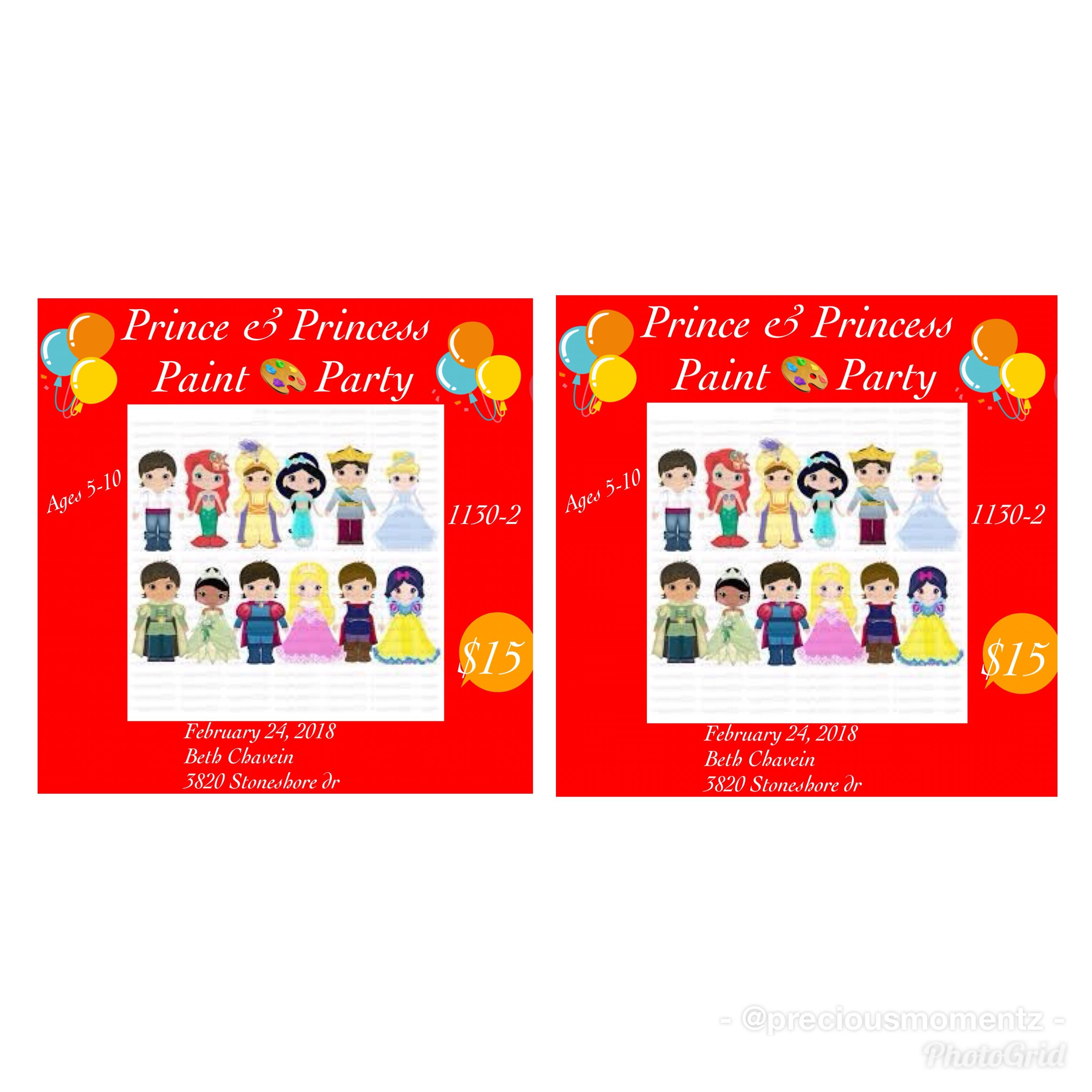 prince and princess paint party ages 5 10 24 feb 2018