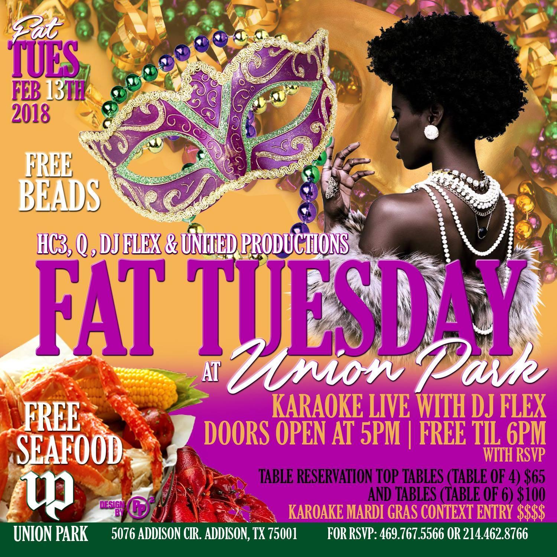 FAT Tuesday @ Union Park   Addison, TX   Union Park Addison   February 13, 2018