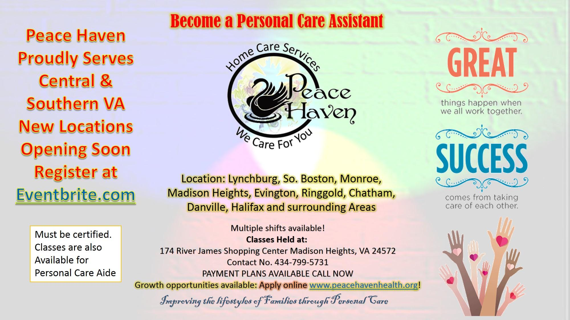 Personal Care Assistant Classes 5 Mar 2018
