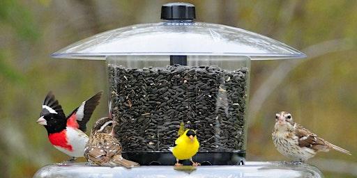Filling Bird Feeders at Aegis Living Issaquah