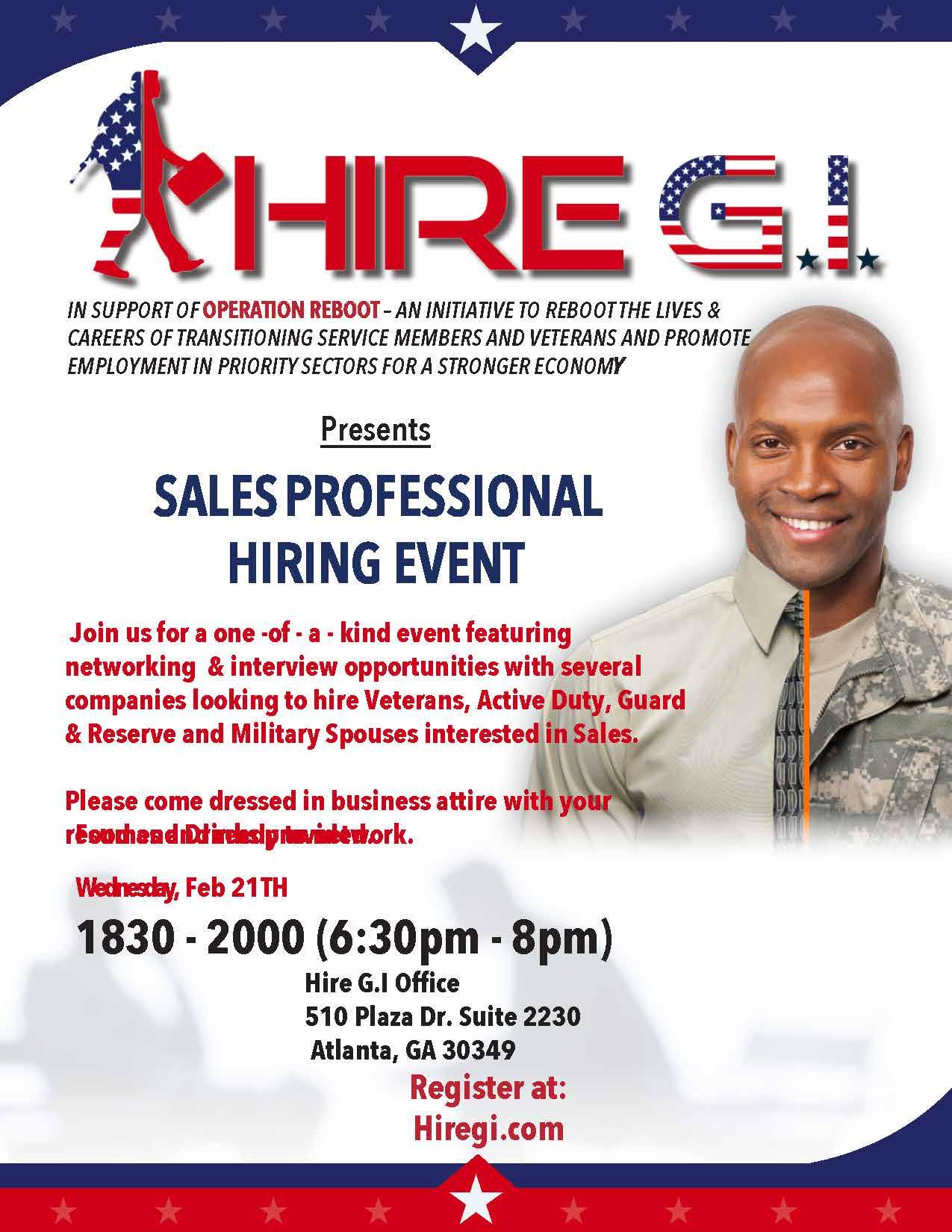 Sales Professionals Hiring Event For Military