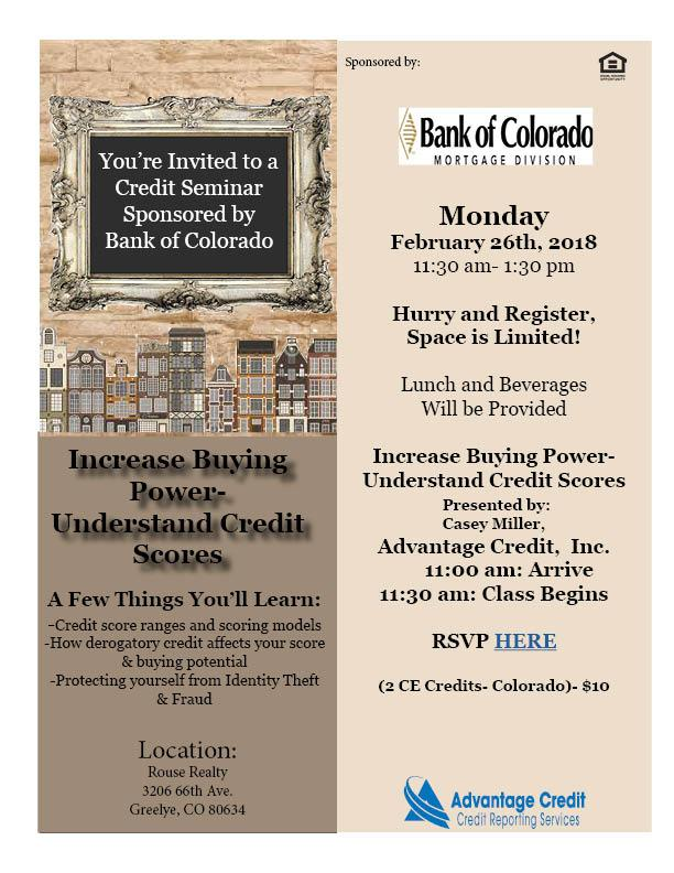 You're Invited to a Credit Seminar Sponsored
