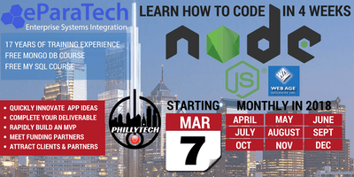 Learn to Code using Node.js in 4 Weeks, Build an App plus Databases