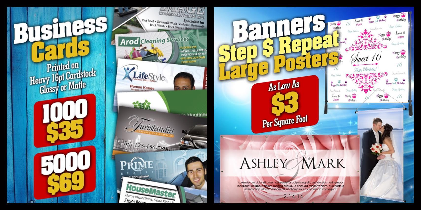 1000) business cards $35 - (5000) 4x6 postcards $125 - Banners $3 ...