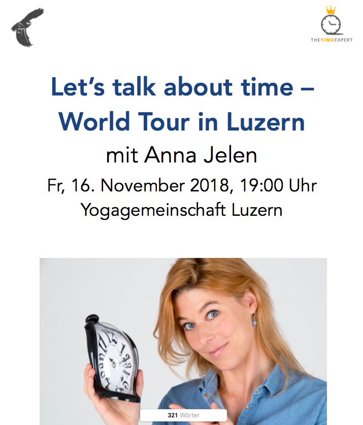 LET'S TALK ABOUT TIME WORLD TOUR - LUZERN