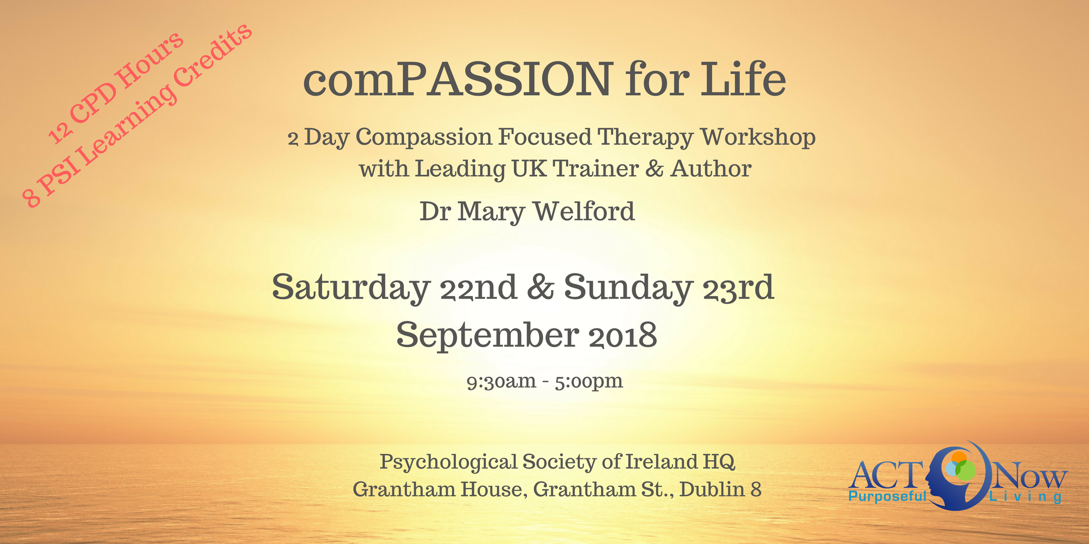 2-Day comPASSION for Life with Leading UK Trainer and International Author Dr. Mary Welford