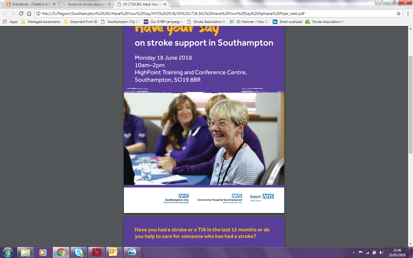'Have Your Say' on stroke support in Southamp