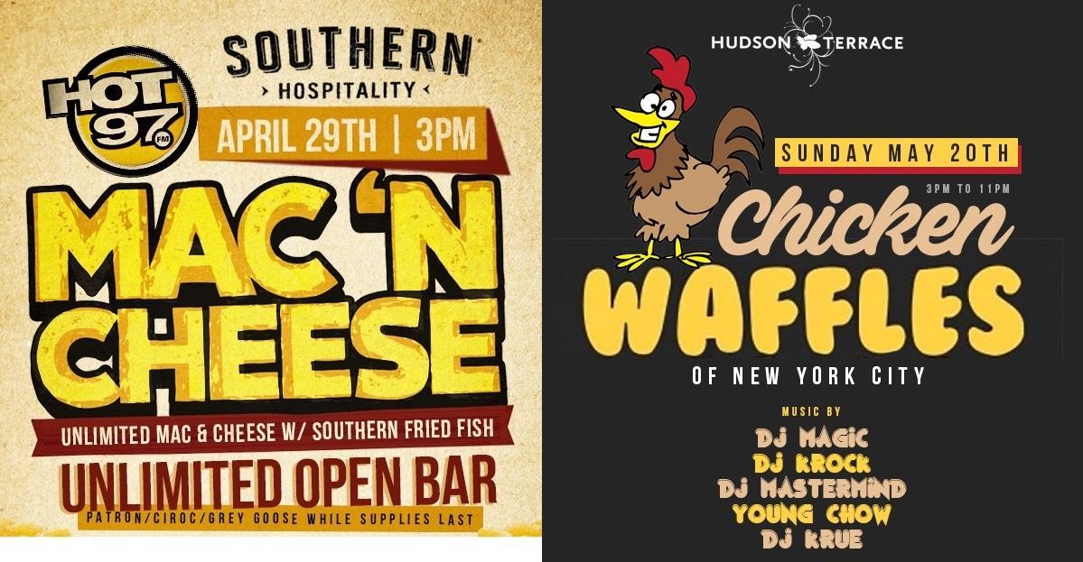 *HOT 97* 5 VIP BRUNCH PARTIES w/UNLIMITED OPEN BAR + CHICKEN & WAFFLES, JERK CHICKEN, MAC N' CHEESE!