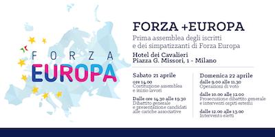 FORZA +EUROPA: prima assemblea di iscritti e simpatizzanti di Forza Europa