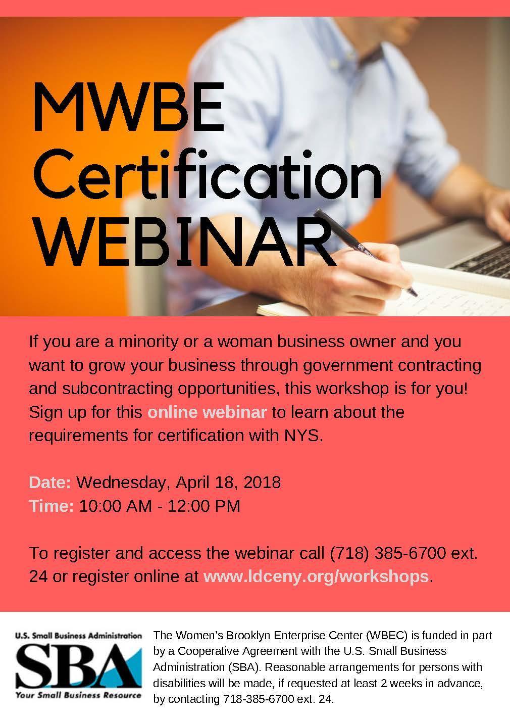 Mwbe Certification Webinar 18 Apr 2018