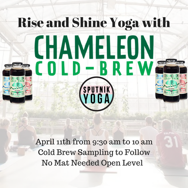 rise and shine yoga with chameleon cold brew wework penn station