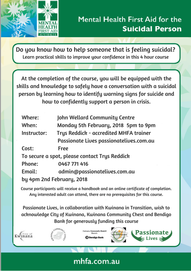 Free Mental Health First Aid For The Suicidal Person 16 Apr 2018