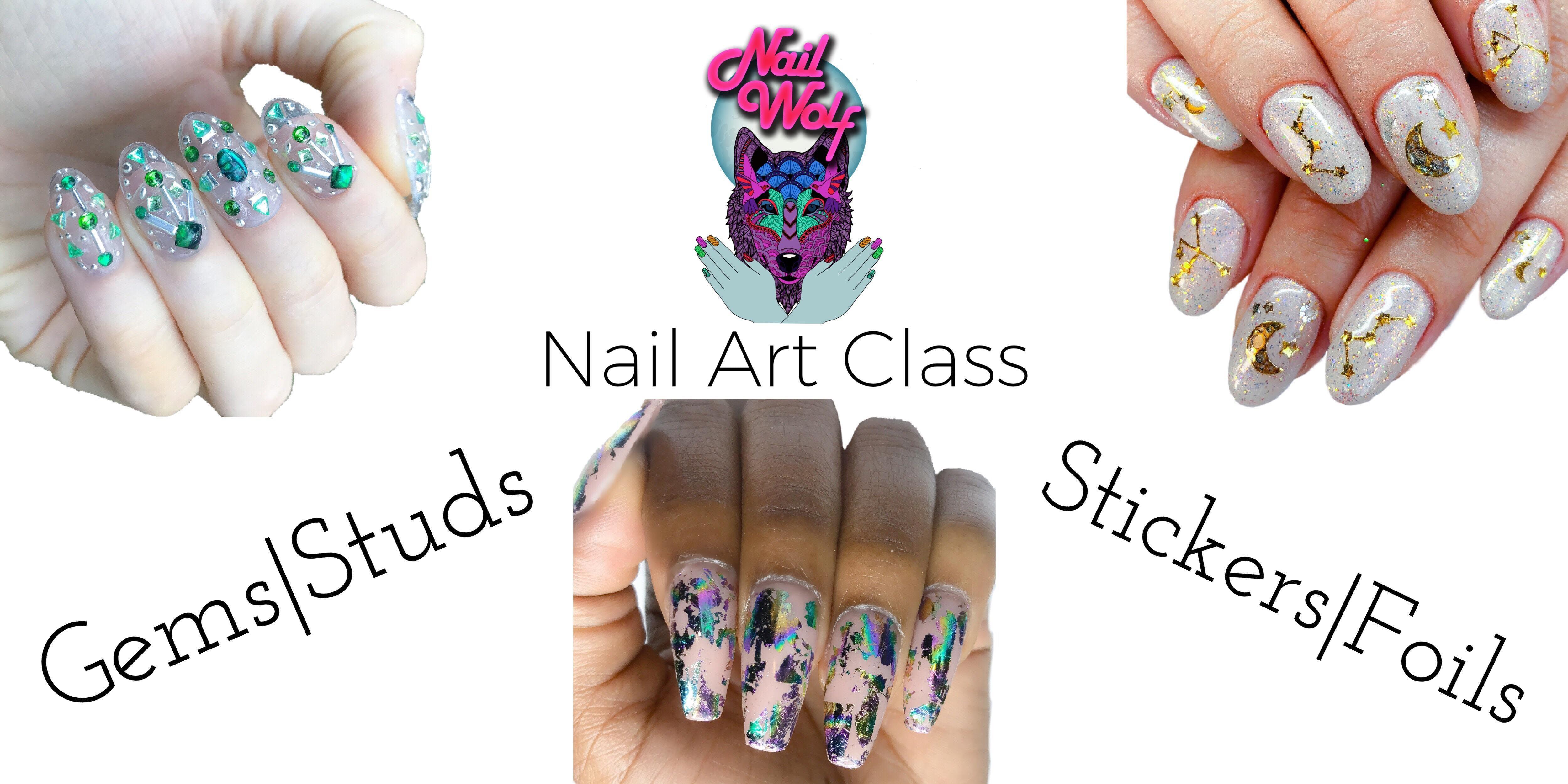 Nail Wolf Art Cl Gems Studs Stickers Foils