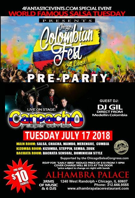 Colombian Fest Pre Party Salsa Tuesday – Live
