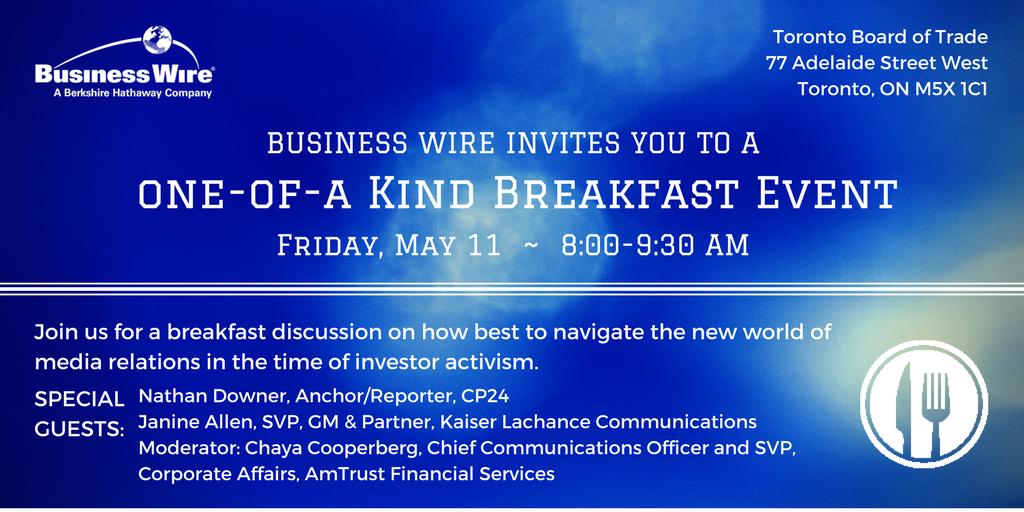 Business Wire Toronto Media Breakfast