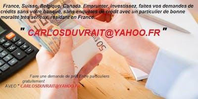 Offre De Crédits Rapides et Très Fiables Pour Vos Projets -   Carlosduvrait@yahoo.fr