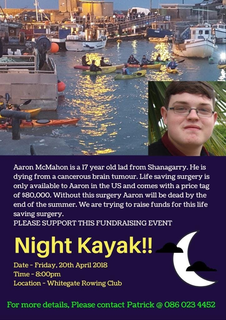 Night Kayak - Fundraiser  in Aid of Aaron McMahon