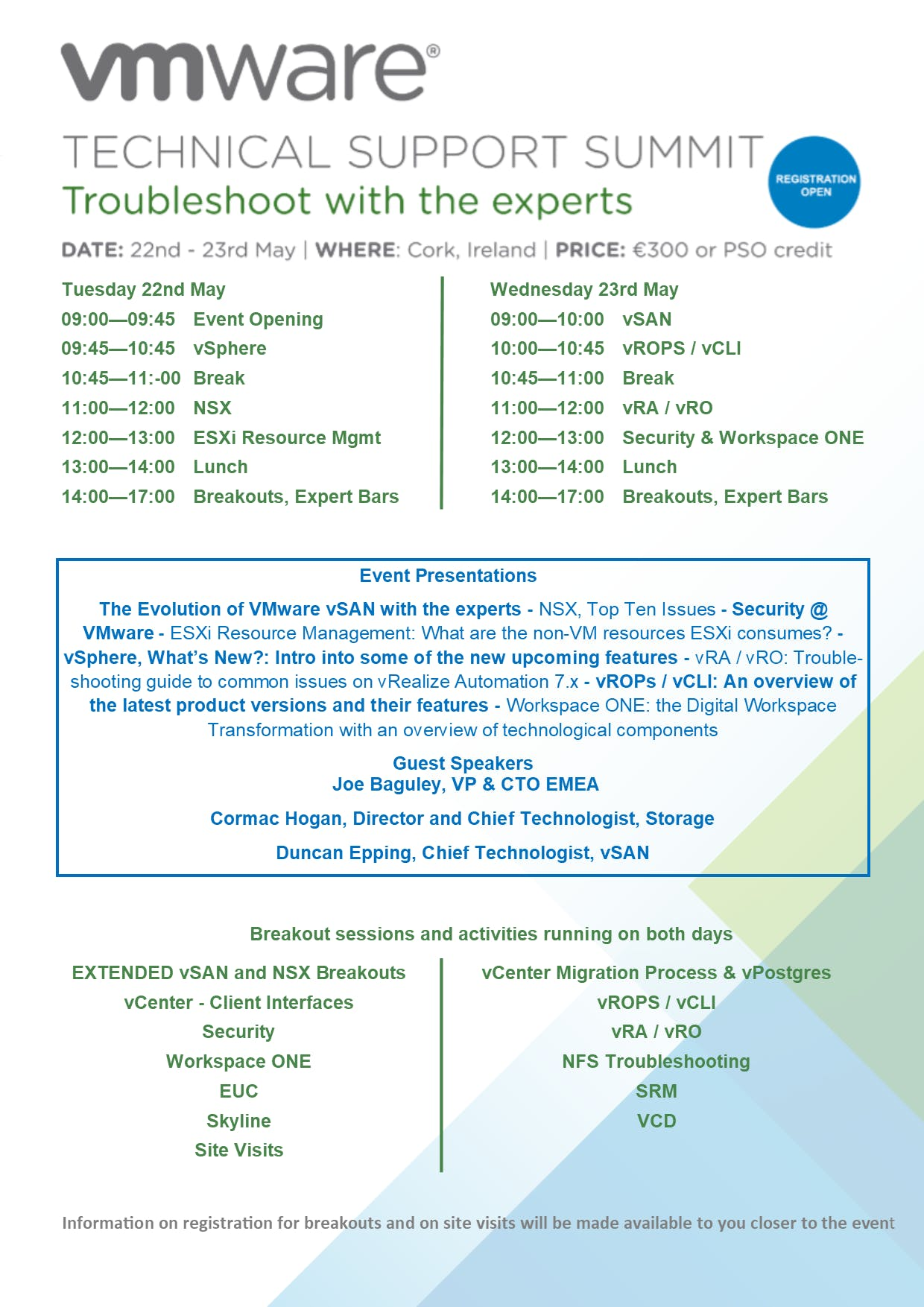 VMware Technical Support Summit - 22nd May