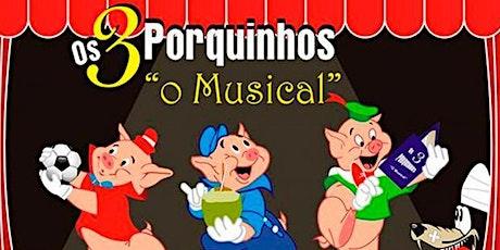 """DESCONTO! Espetáculo infantil """"Os Três Porquinhos"""", no Teatro Bibi Ferreira ingressos"""
