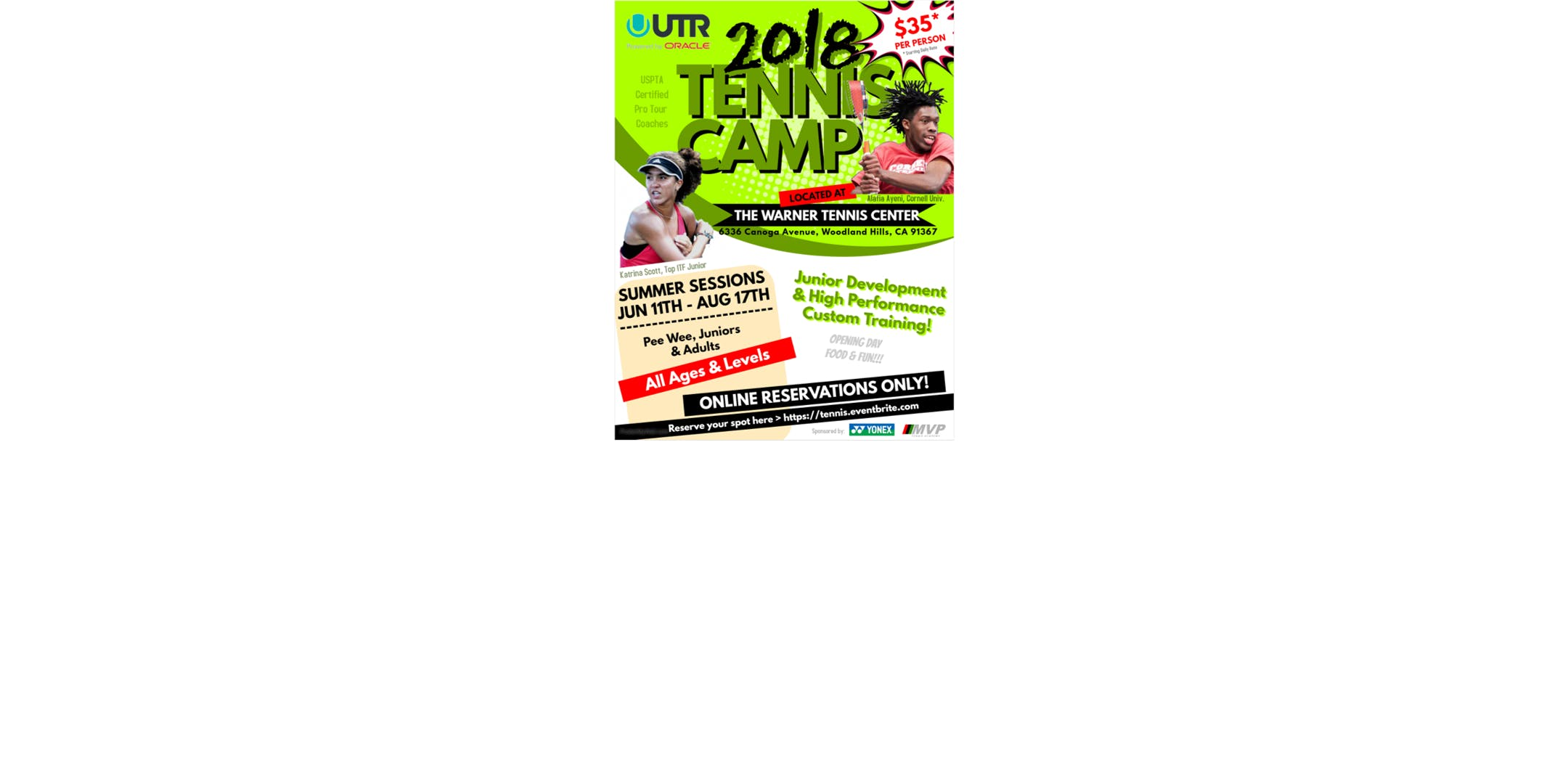 Tennis Summer Camp by Yonex   High Performanc