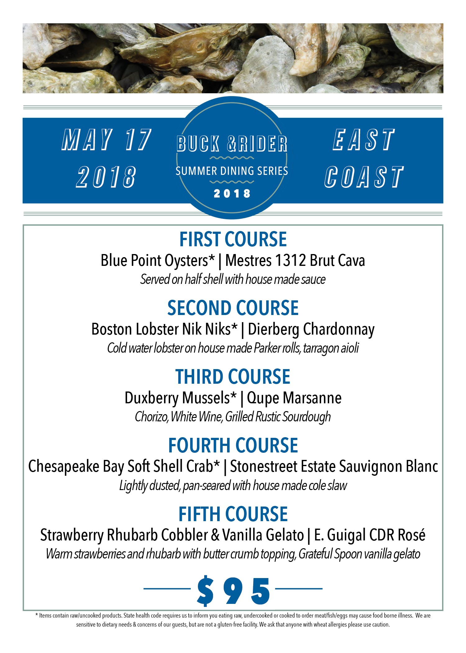 Buck &Rider Summer Dining Series | May: East Coast