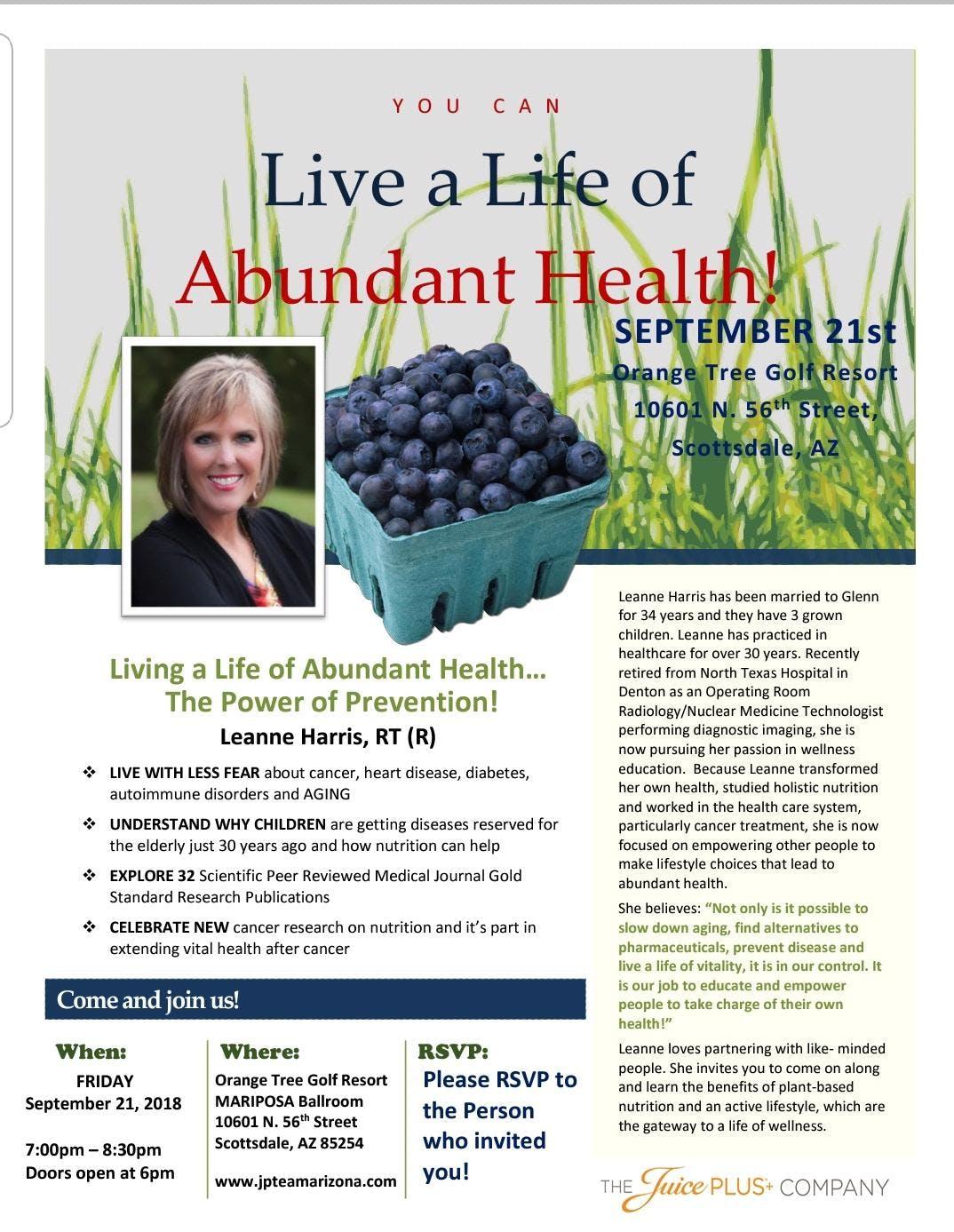 Phoenix- Inspiring Healthy Living - Friday September 21 - Live a Life of Abundant Health