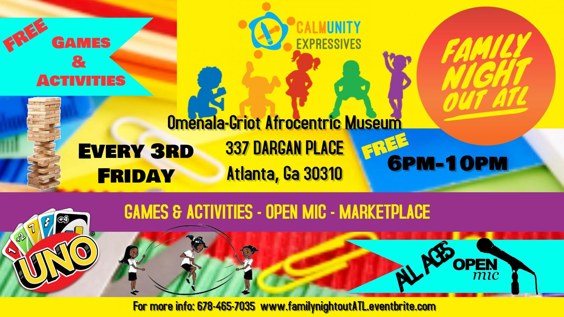 Family Night Out ATL Games Activities All Ages Open Mic