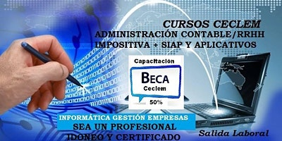 AUXILIAR CONTABLE IMPOSITIVO PROFESIONAL Siap + Excel Beca 50%
