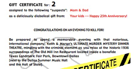 Murder Mystery Dinner GIFT CERTIFICATE for 2 (Dallas) tickets