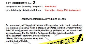 Murder Mystery Dinner GIFT CERTIFICATE for 2 (Dallas)