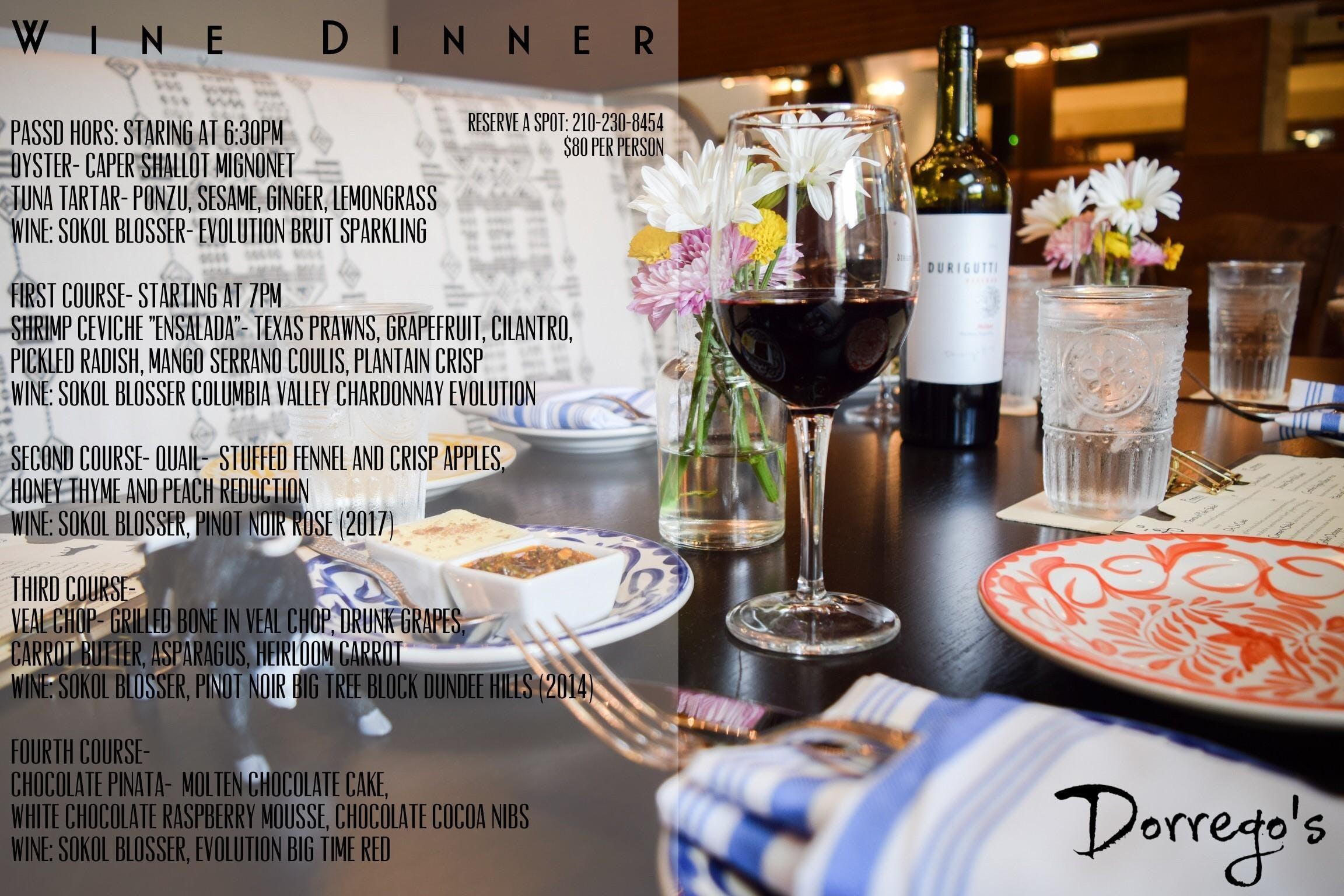 Argentine Wine Dinner - $80 per person