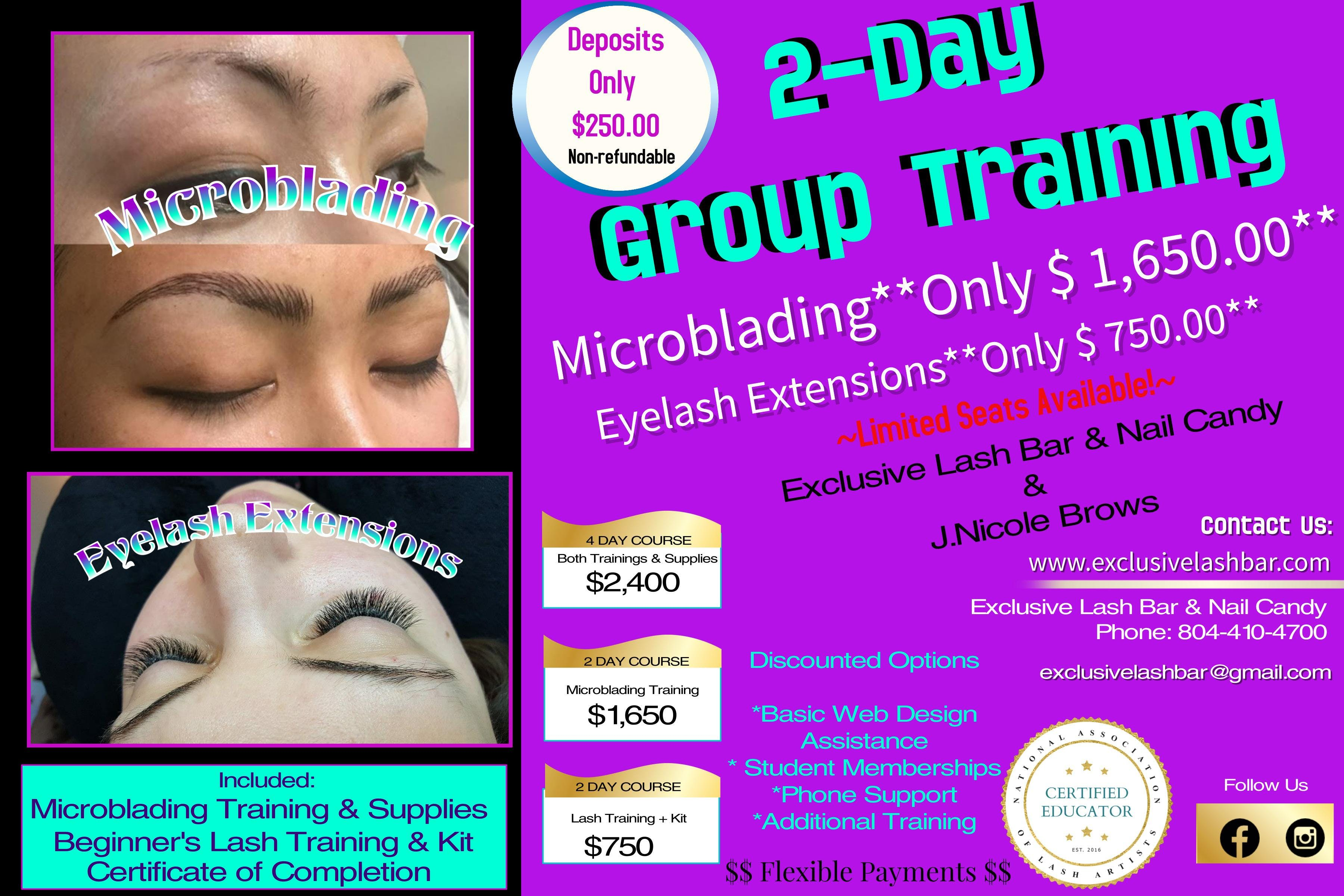 2 Day Group Training Eyelash Extensions Microblading 11 Aug 2018