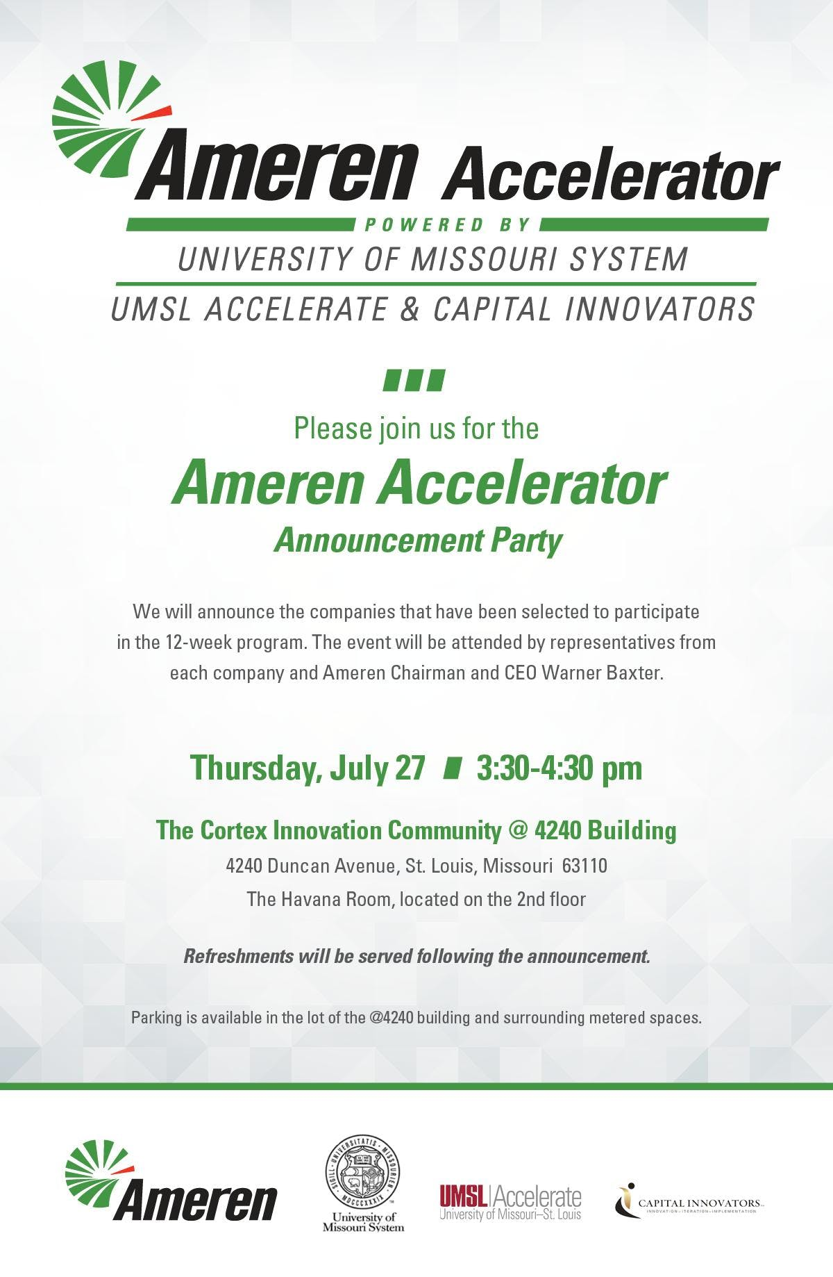 Ameren Accelerator – 2018 Announcement Party