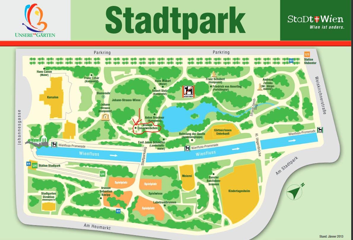 Stadtpark / Treffpunkt beim Donauweibchen Bru