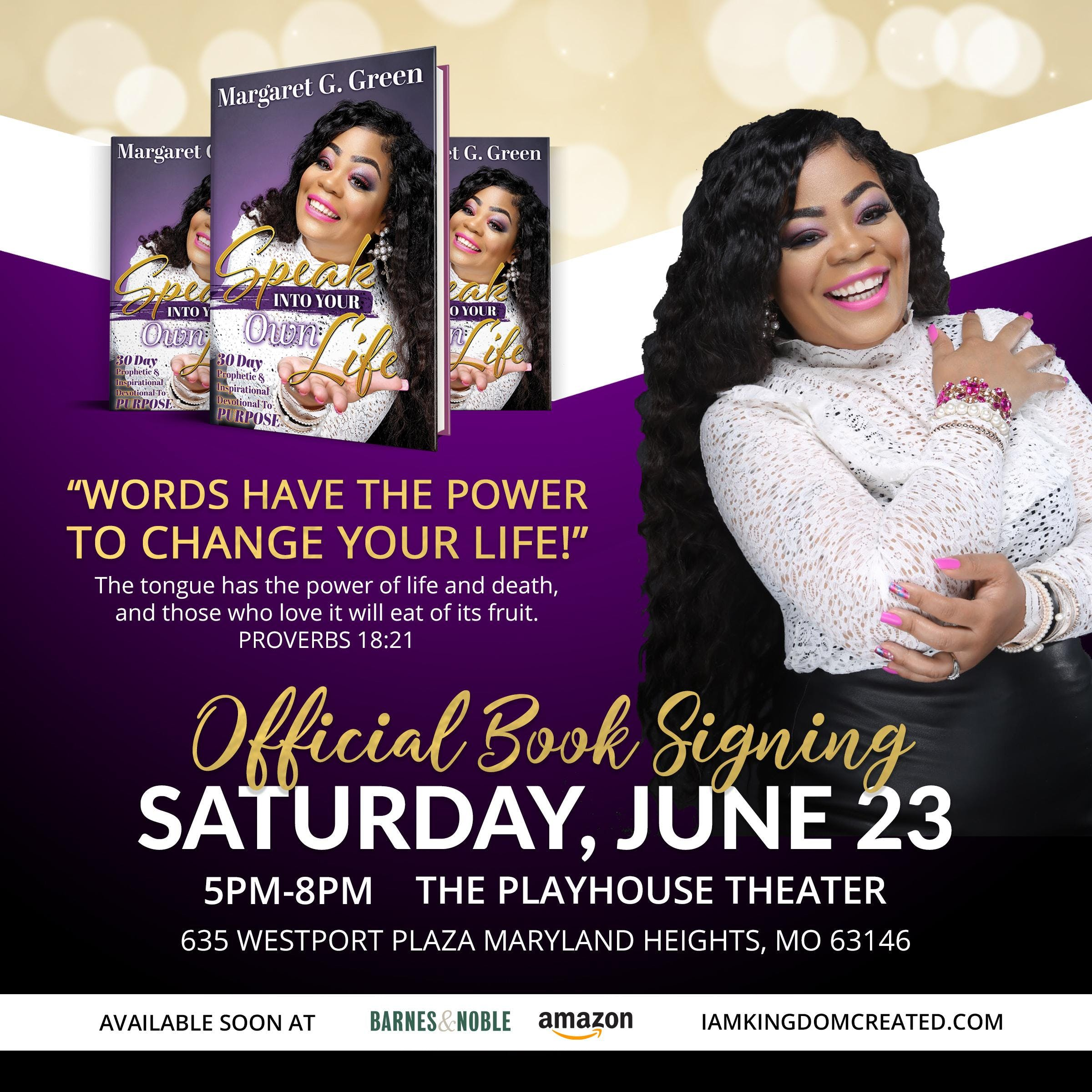 Speak Into Your Own Life Book Release Event
