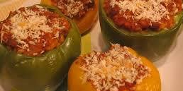 Homemade Rice and Sausage Stuffed Peppers with Vodka Sauce (Meal Class)